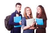 Estudantes adolescentes felizes em branco — Foto Stock