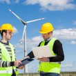 Two Engineers in a Wind Turbine Power Station — Stock Photo #10683792