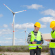 Two Engineers in a Wind Turbine Power Station — Stock Photo #10683935