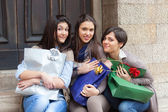 Happy Young Women after Shopping — ストック写真
