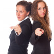 Two Business Women Pointing Their Fingers at Camera — Stock Photo