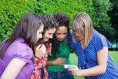 Adolescentes femininos olhando fotos na câmera — Fotografia Stock