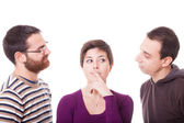 Young Woman and Two Men — Stock Photo