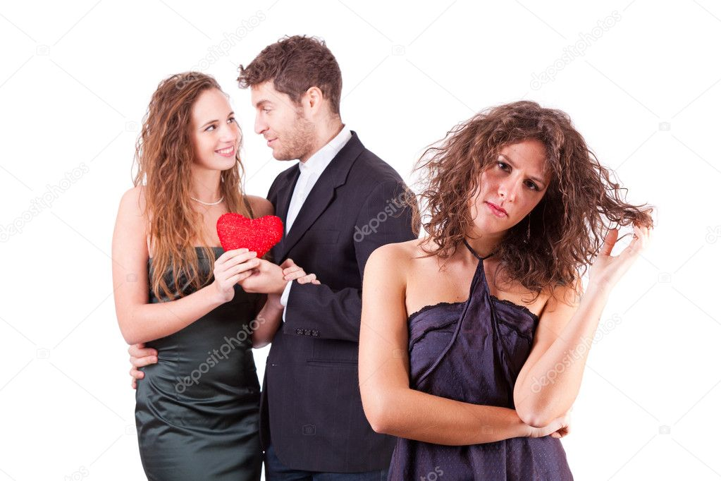 Sad Woman with Happy Couple on Background — Stock Photo #8324080