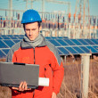 Engineer at Work In a Solar Power Station — Stock Photo