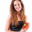 Young Woman with a Red Gift — Stock Photo