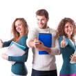 Happy Students on White — Stock Photo