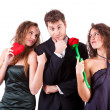 Handsome Man with two Women Flirting — Stock Photo #8501458