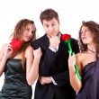 Handsome Mwith two Women Flirting — Stock Photo #8501458