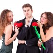 Handsome Man with two Women Flirting — Stock Photo #8580499