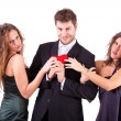 Handsome Man with two Women Flirting — Stock Photo #8580515