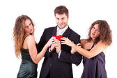 Handsome Man with two Women Flirting — Stock Photo