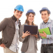 Engineers or Architects with Helmet on White Background — Stock Photo