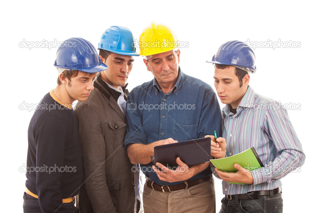 Engineers or Architects with Helmet on White Background — Stock Photo #8740818