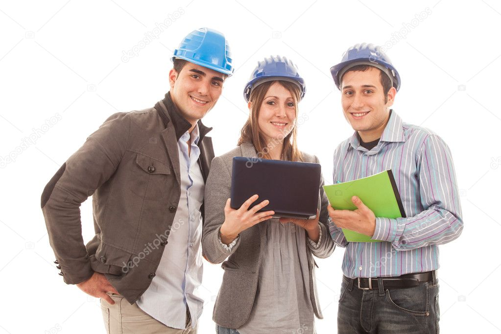 Engineers or Architects with Helmet on White Background — Stock Photo #8740829