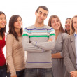 Young Handsome Man with Many Girls Around — Stock Photo