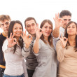 Happy Multiracial Group showing Ok Sign — Stock Photo