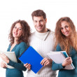 Happy Group of Students on White — Stock Photo
