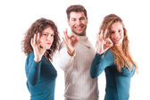 Three Happy Friends Showing Ok Sign — Stock Photo