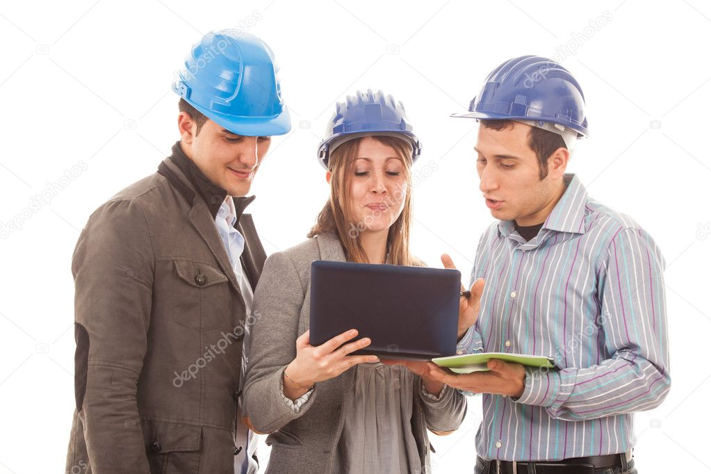 Engineers or Architects with Helmet on White Background — Stock Photo #8976978