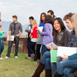 Multicultural College Students at Park — Stock Photo #9090807