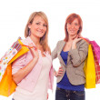 Two Girls With Shopping Bags - Stok fotoraf