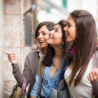 Three Beautiful Young Women doing Shopping — Stock Photo