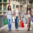 Three Beautiful Young Women doing Shopping — Stock Photo #9765484