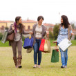 Young Women at Park after Shopping — Stock Photo #9765499