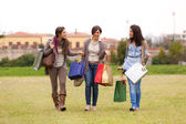 Young Women at Park after Shopping — Foto Stock