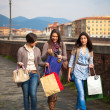 Beautiful Young Women Waliking in the City with Shopping Bags — Stock Photo #9782295