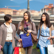 Beautiful Young Women Waliking in the City with Shopping Bags — Stock Photo