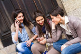 Group of Women Talking on Mobile Phone — Stock Photo