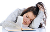 Student fell asleep during studying — Stock Photo