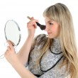 Woman applying makeup. — Stock Photo