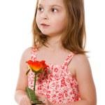 Girl Holding Rose — Stock Photo #8605671