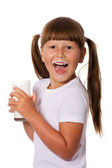 Girl loves milk — Stock Photo