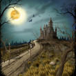 Stock Photo: Night, moon and dark castle