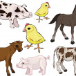 Baby farm animals set — Stock Vector