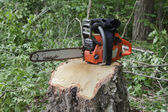 Chainsaw on a stump — Stock Photo