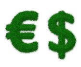 Hierba signos de dólar y el euro — Foto de Stock