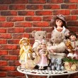 Dolls and teddy - Stock Photo