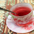Cup of karkade tea — Stock Photo