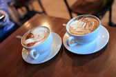Two cups of cappuccino — Stock Photo
