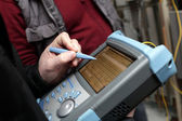 Adjusting of reflectometer — Stock Photo
