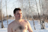 Portrait of winter swimmer — Stock Photo