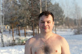Winter swimmer — Stock Photo