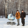 Family with baby carriage — Stock Photo #8747191