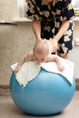 Gymnastics with the ball — Stock Photo