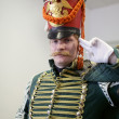 Stock Photo: Saluting hussar